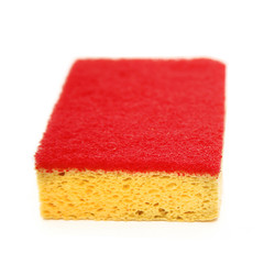 New cleaning sponge with rough red scrubber