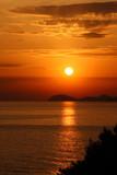 Bright sunset over Adriatic sea poster