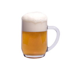 Mug of Beer Isolated over White Background