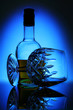 glass of wine on blue background