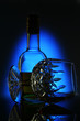glass of wine on blue background_2