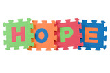Alphabet blocks forming the word HOPE isolated on white poster