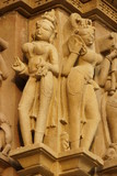 Hindu figures decorating an ancient Temple at Khajuraho poster