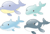 Ocean Fish Family: Dolphin, Shark, Whale and Killer Whale poster