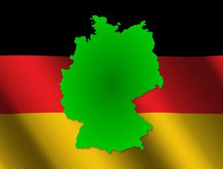 Germany map on rippled flag illustration