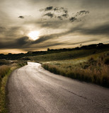 Fototapety road in middle of rural area to evening