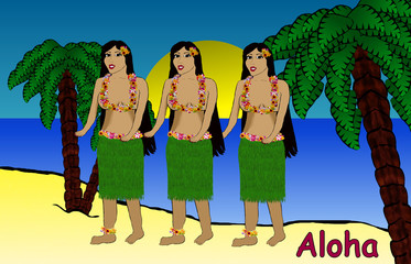Paradise Island - Hawaian Dancers Beach Scene Cartoon