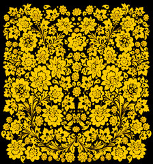 background with gold on black flowers