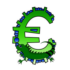 Animal Character -  Euro sign - Isolated On White