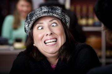 Hispanic woman with funny expression