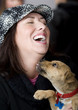 Hispanic woman with funny puppy