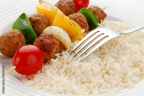 Dinner kebab - grilled meat,vegetables and rice