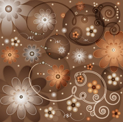 Floral abstract coffee background