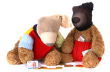 Beary Bank Robbers wearing masks and gathering chocolate money