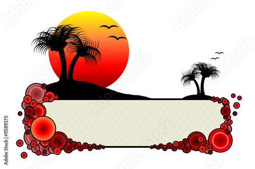 Paradise Island - Oasis Sunset Banna With Copyspace