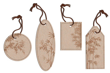 Bamboo leaf printed on natural tags isolated on white