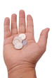Hand with Indian coins