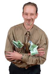 Senior with cash