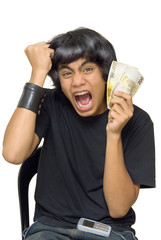 Teen waving cash