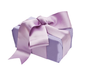 Gift box wrapped with a satin bow isolated on  white