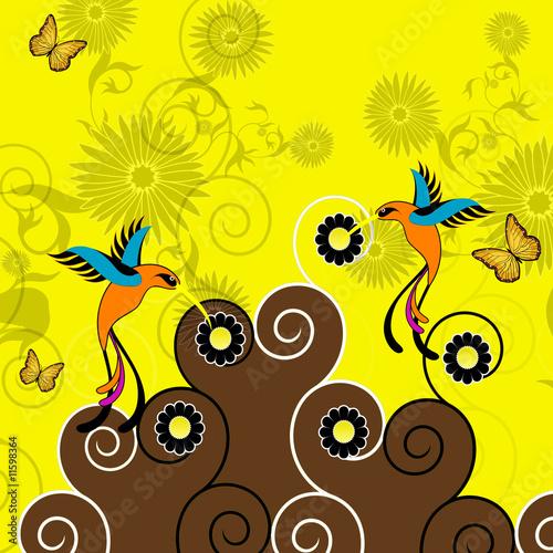 Leinwandbild Motiv Kolibri and Floral Background