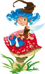 Fairy is sat on a mushroom