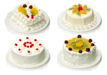 Collection of four cake with clipping path