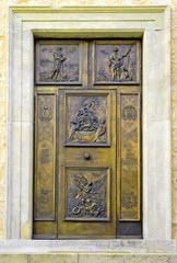 Church door in Campodimele Italy