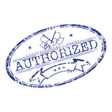 Grunge rubber stamp with the word authorized poster