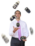 Photographer juggling his equipment poster