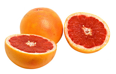 Close up of grapefruit and its sections isolated on white backgr