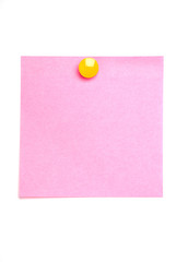 Pink post it note isolated on white