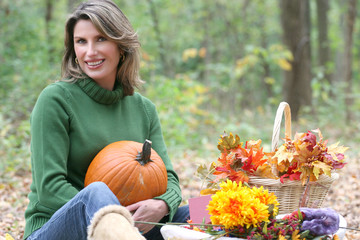 Relaxing in  Park - Attractive Female, Fall, Seasonal Setting