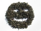 Muzzle from green tea with smile