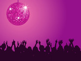 Purple disco ball and crowd poster