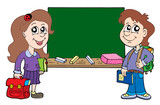 Two pupils with blackboard poster