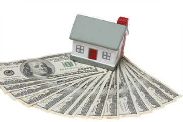 house with dollar bills background