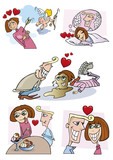 illustration of young couple love comic story poster
