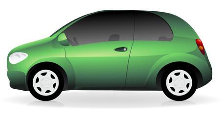 Voiture verte métallisée (ombre)