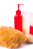 natural sponge, soap and body lotion poster