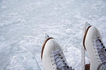 Ice skates outdoors