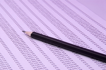 Data table with pencil
