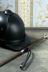 Equiestrian black leather hat still detail
