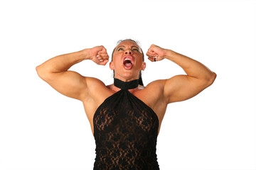 Crying woman bodybuilder