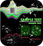 psychedelic grunge design and barcode poster