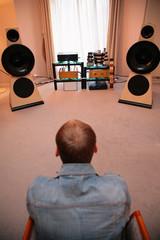 Man listens music from vinyl