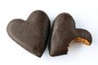 Chocolate covered gingerbread hearts