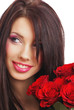 portrait of a beautiful sexy woman with red rose