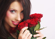 beautiful sexy woman with red rose,