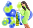 Shopping happy woman. over abstract background